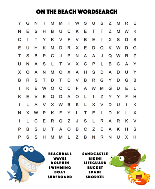 On the Beach Word-search